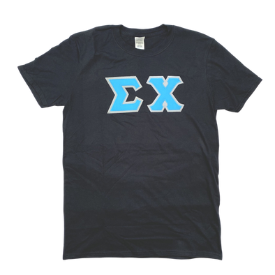 Sigma Chi Stitched Letter T-Shirt | Black | Cyan with Gray Border