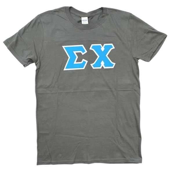 Sigma Chi Stitched Letter T-Shirt | Charcoal | Cyan with White Border