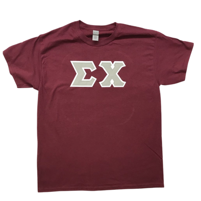 Sigma Chi Stitched Letter T-Shirt | Maroon | Gray with White Border