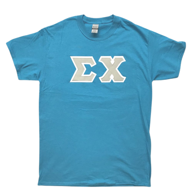 Sigma Chi Stitched Letter T-Shirt | Sapphire | Gray with White Border