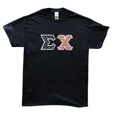 Sigma Chi Stitched Letter T-Shirt | Navy | American Flag with White Border
