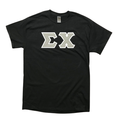 Sigma Chi Stitched Letter T-Shirt | Black | Gray with White Border