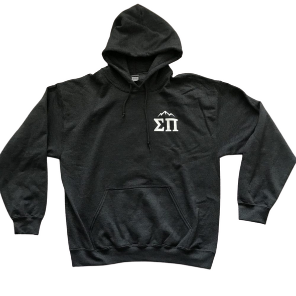 Sigma Pi Graphic Hoodie | Dark Heather | Mountain Weekend