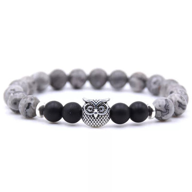 Owl Bracelet - Black and Gray Stones