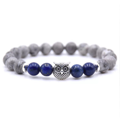 Owl Bracelet - Blue and Gray Stones