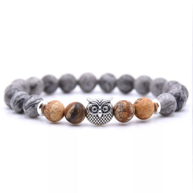 Owl Bracelet - Light Brown and Gray Stones