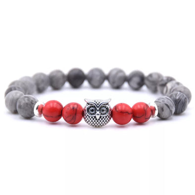 Owl Bracelet - Red and Gray Stones