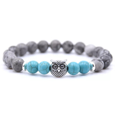 Owl Bracelet - Turquoise and Gray Stones