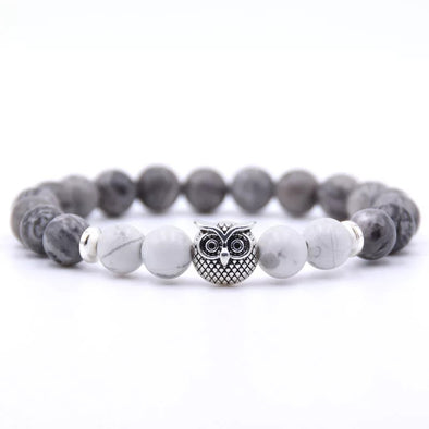Owl Bracelet - White and Gray Stones