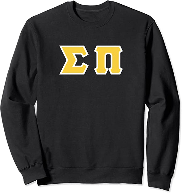 Sigma Pi Printed Letter Crewneck | Gold with White