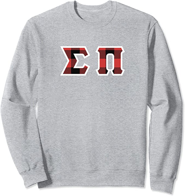 Sigma Pi Printed Letter Crewneck | Red Plaid