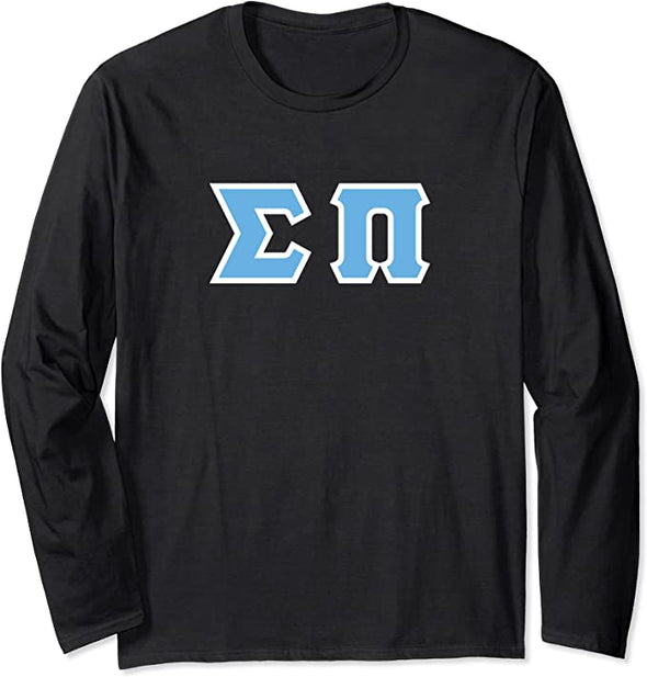 Sigma Pi Printed Letter Long Sleeve | Cyan with White Border