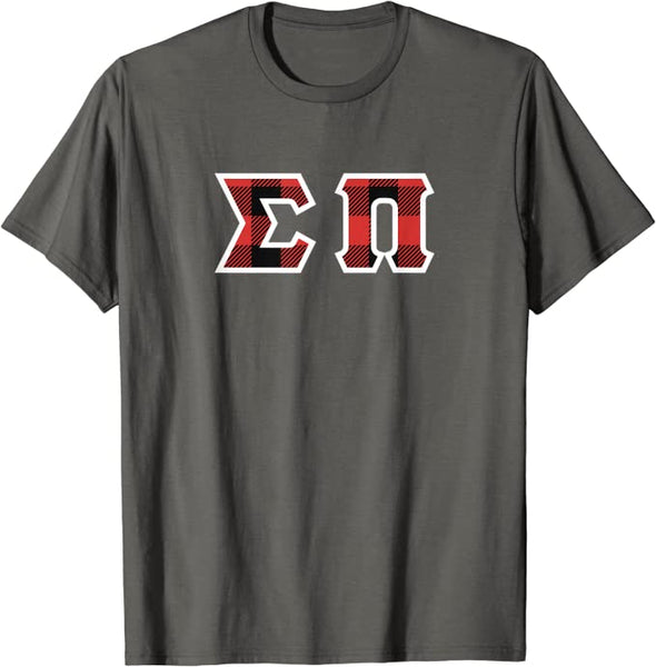 Sigma Pi Printed Letter T-Shirt | Red Plaid