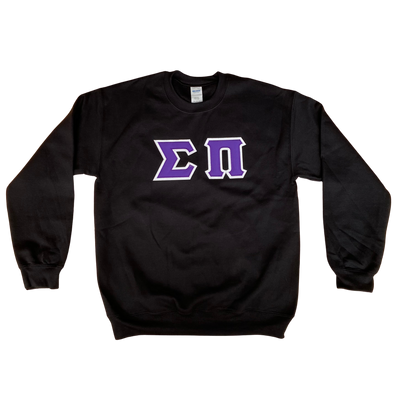 Sigma Pi Stitched Letter Crewneck | Purple with White Border