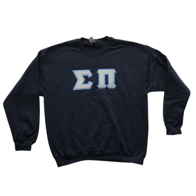 Sigma Pi Stitched Letter Crewneck | Gray with Columbia Blue Border