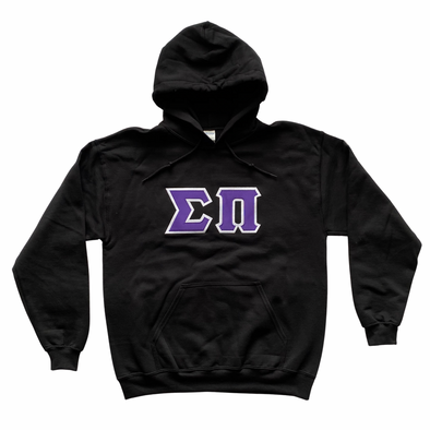 Sigma Pi Stitched Letter Hoodie | Black | Purple with White Border