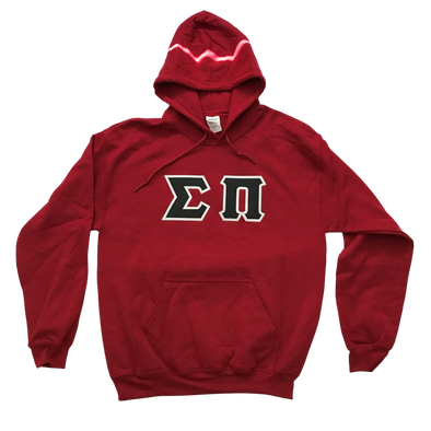 Sigma Pi Stitched Letter Hoodie | Garnet | Black with White Border
