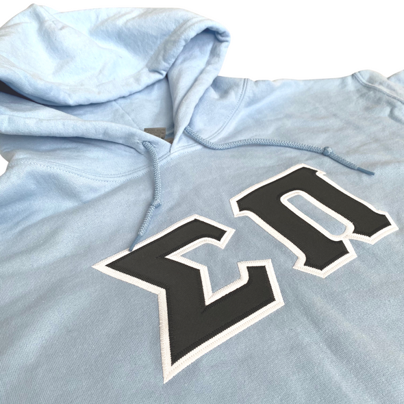 Sigma Pi Stitched Letter Hoodie | Light Blue | Black with White border