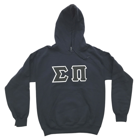 Sigma Pi Stitched Letter Hoodie | Navy | Black with White Border