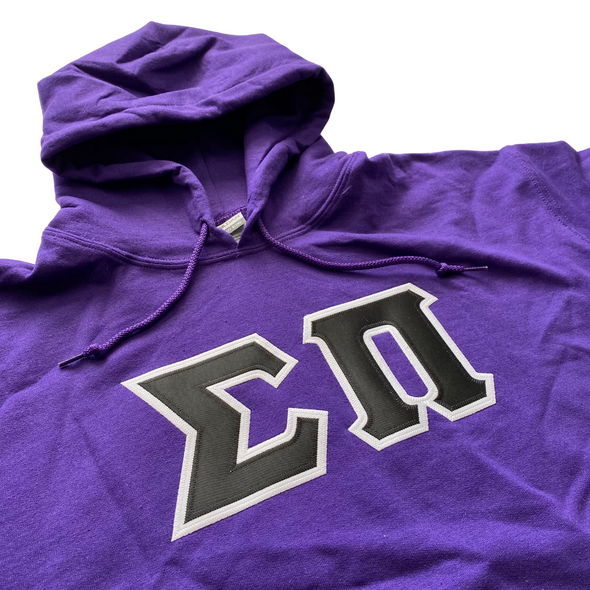 Sigma Pi Stitched Letter Hoodie | Purple | Black with White Border