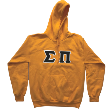 Sigma Pi Stitched Letter Hoodie | Yellow | Black with White border