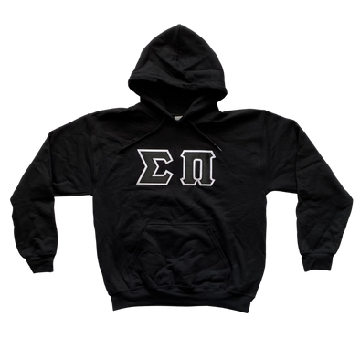 Sigma Pi Stitched Letter Hoodie | Black | Black with White Border
