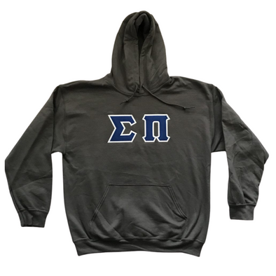 Sigma Pi Stitched Letter Hoodie | Charcoal | Royal Blue with White Border