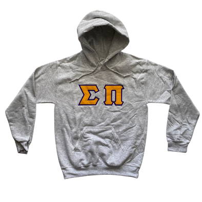 Sigma Pi Stitched Letter Hoodie | Ash | Gold with Purple Border