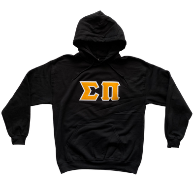 Sigma Pi Stitched Letter Hoodie | Black | Gold with White Border