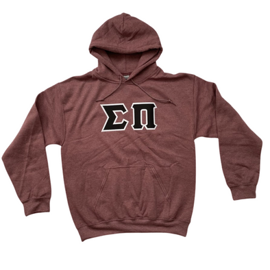 Sigma Pi Stitched Letter Hoodie | Heather Maroon | Black with White Border
