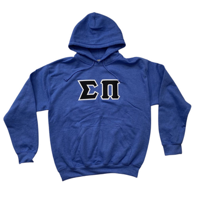 Sigma Pi Stitched Letter Hoodie | Heather Royal | Black with White Border