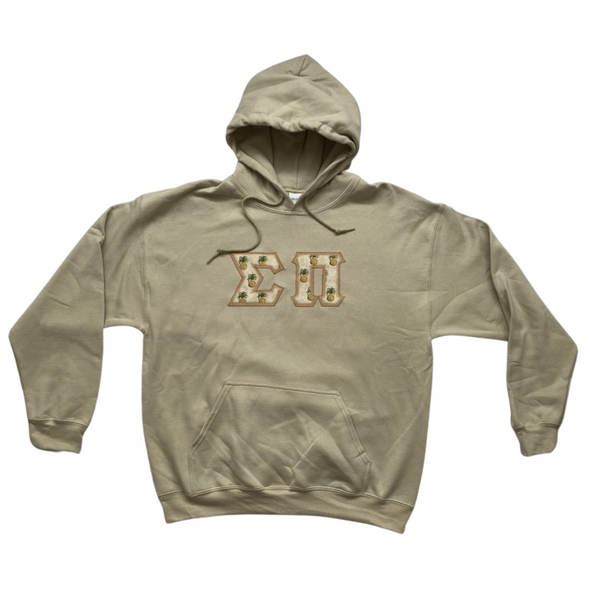 Sigma Pi Stitched Letter Hoodie | Pineapples with Tan Border