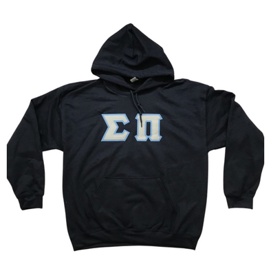 Sigma Pi Stitched Letter Hoodie | Navy | Gray with Columbia Blue Border