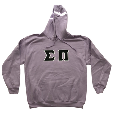 Sigma Pi Stitched Letter Hoodie | Orchid | Black with White Border