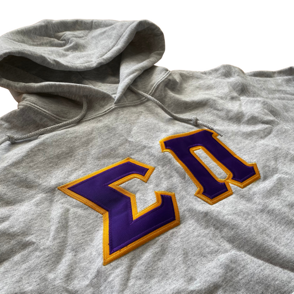 Sigma Pi Stitched Letter Hoodie | Ash | Purple with Gold Border