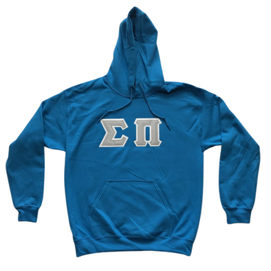 Sigma Pi Stitched Letter Hoodie | Sapphire | Gray with White Border