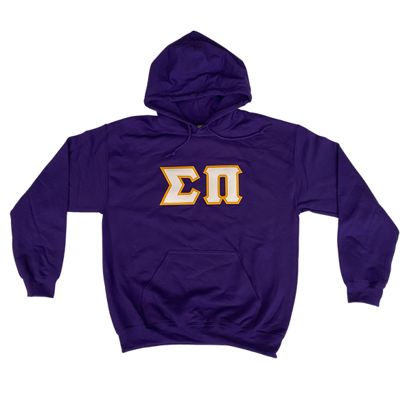 Sigma Pi Stitched Letter Hoodie | Purple | White with Gold Border