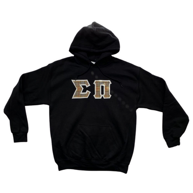 Sigma Pi Stitched Letter Hoodie | Black | Burberry with White Border