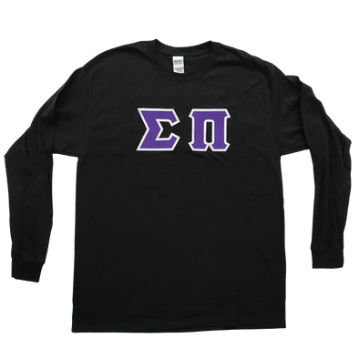 Sigma Pi Stitched Letter Long Sleeve | Purple with White Border
