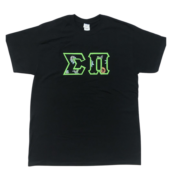 Sigma Pi Stitched Letter T-Shirt | Rick and Morty with Neon Green Border