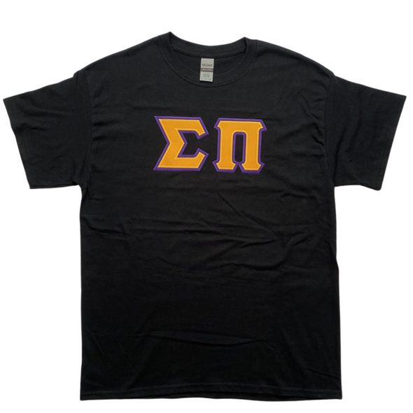 Sigma Pi Stitched Letter T-Shirt | Gold Letters with Purple Border