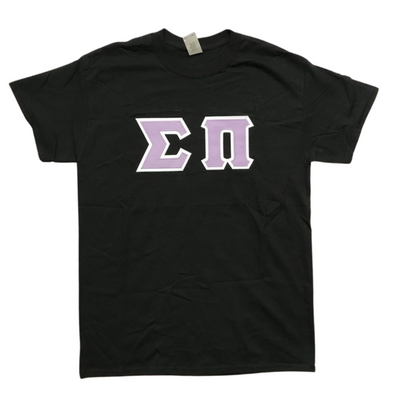 Sigma Pi Stitched Letter T-Shirt | Lavender Letters with a White Border