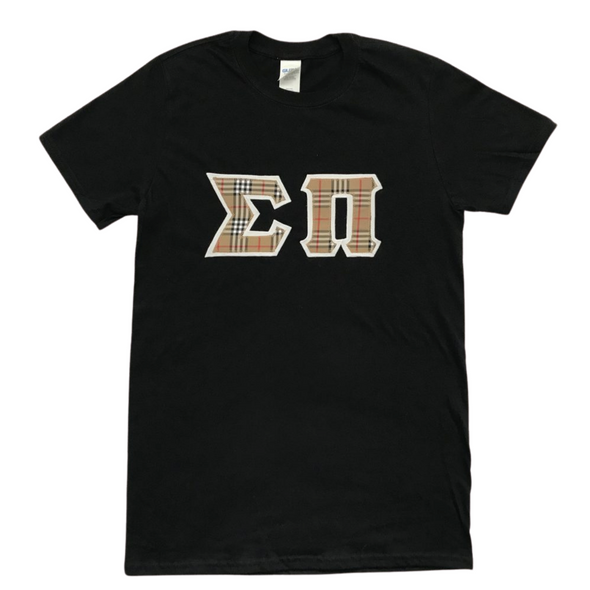 Sigma Pi Stitched Letter T-Shirt | Burberry Letters with a White Border