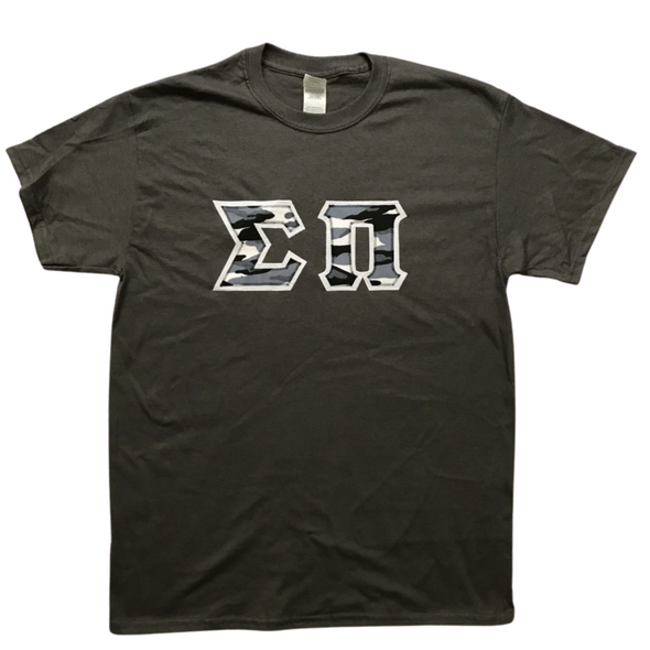 Sigma Pi Stitched Letter T-Shirt | Winter Camo