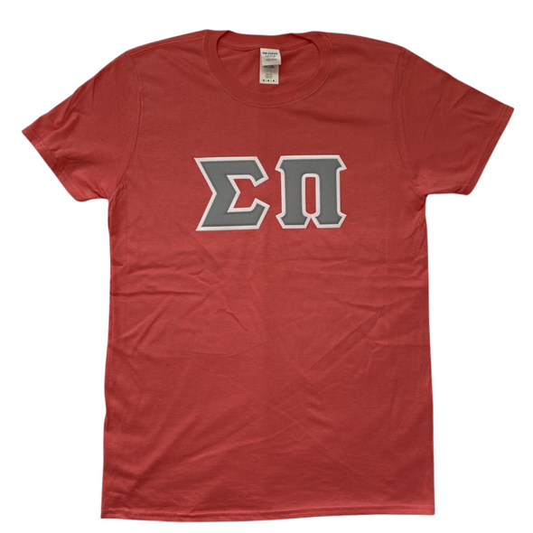 Sigma Pi Stitched Letter T-Shirt | Coral Silk | Gray Letters with White Border