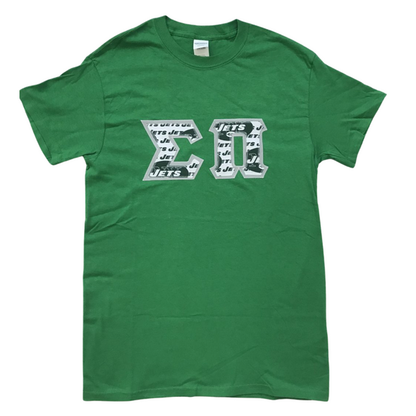 Sigma Pi Stitched Letter T-Shirt | Jets Football