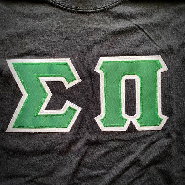 Sigma Pi Stitched Letter T-Shirt | Green with White Border