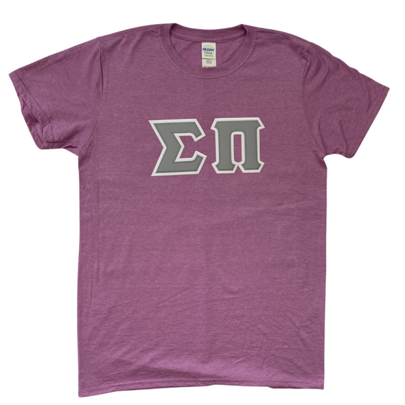 Sigma Pi Stitched Letter T-Shirt | Heather Orchid | Gray Letters with White Border