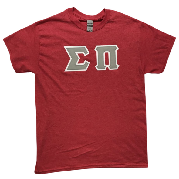 Sigma Pi Stitched Letter T-Shirt | Heather Red | Gray Letters with White Border