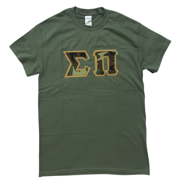 Sigma Pi Stitched Letter T-Shirt | Camo with a Tan Border